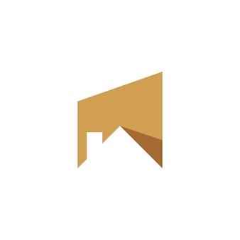 ゴールドルーフハウス建物の形の負のスペースでロゴ