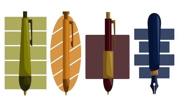 鉛筆ペンデザインテンプレートベクトルセット