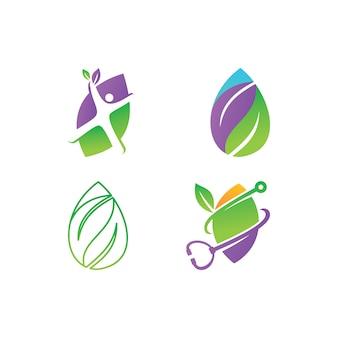 葉のロゴデザインベクトルテンプレートセット