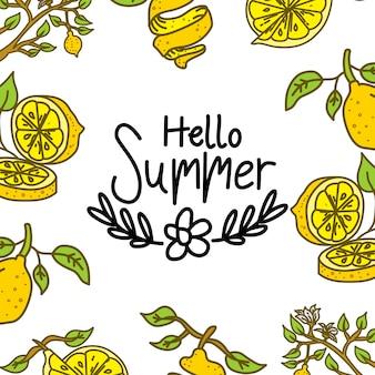 こんにちは夏のテキストのベクトル