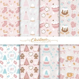 かわいいクリスマスのシームレスパターンコレクション