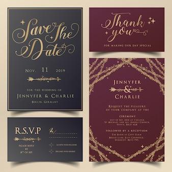 モダンウェディングのために設定されたブルゴーニュと紺色の編集可能な招待状