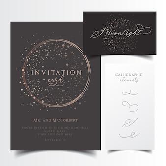 編集可能なカリグラフィー要素によるパーティー招待状と名刺デザイン