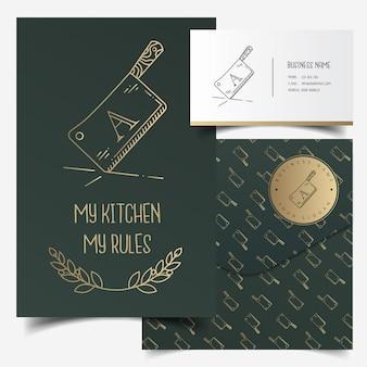 マチェッテのロゴと模様のある素朴なショップのブランディング