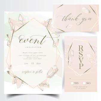 幾何学的な花の結婚式招待状の宝石とカード
