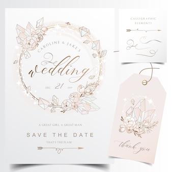 クリスタルの花輪と現代の結婚式招待状