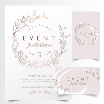 花の輪郭を描かれた結婚式のフレームテンプレート