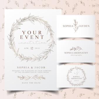 エレガントなユーカリの花輪の招待状カードとロゴのデザイン