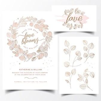 現代の葉の花輪の招待カード