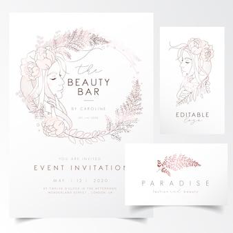 イベント招待状のテンプレートの葉と花を持つ少女の肖像画