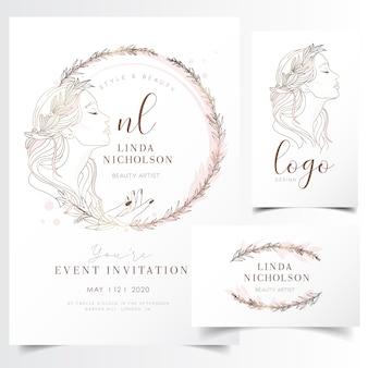 イベント招待状のテンプレートのための花の花輪で美しい若い女性