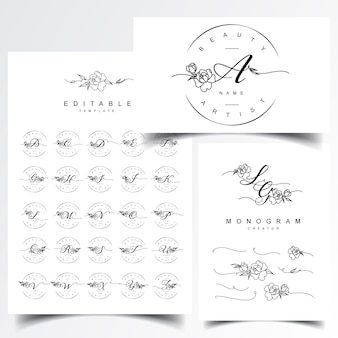 結婚式のモノグラムとレターのロゴデザイン