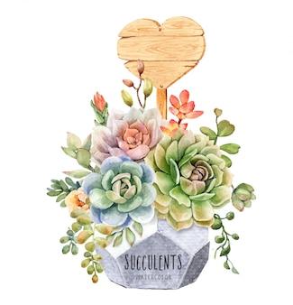 水彩のサボテンと多肉植物の幾何学的な植木鉢