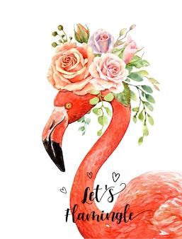 Акварельный букет роз на голове портрета фламинго.