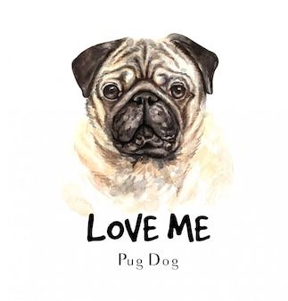 印刷用の肖像パグ犬