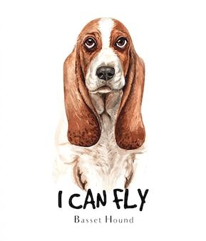 印刷用バセットハウンド犬水彩画。