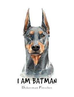 Доберман собака акварель для печати.