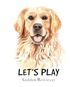 Золотистый ретривер собака акварель для печати.