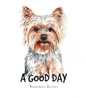印刷用ヨークシャーテリア犬水彩画。