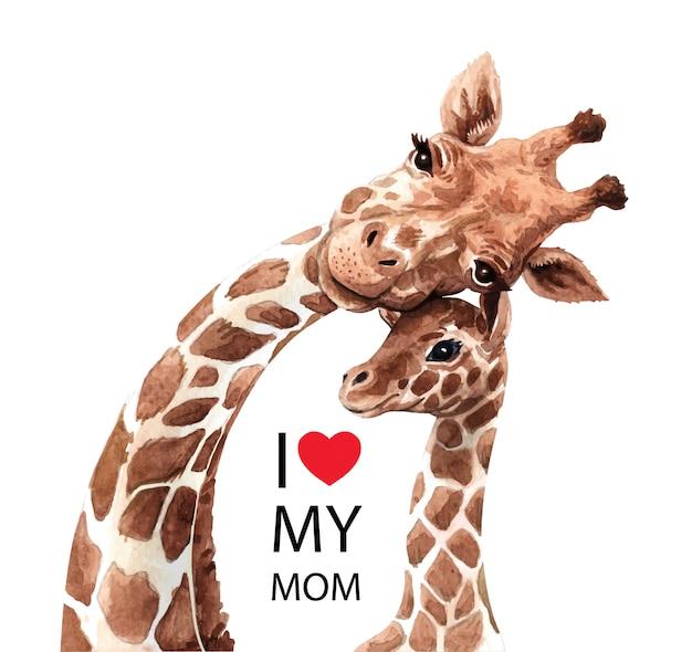 かわいいキリンママと水彩画の赤ちゃん。