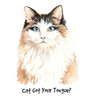 かわいい水彩画猫イラスト。