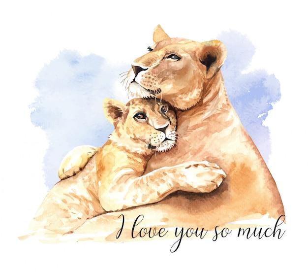 水彩ライオンママと息子。