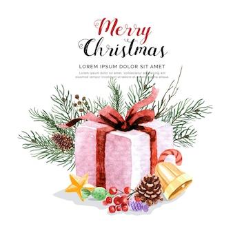 松葉の水彩ギフトボックスとクリスマスセット。