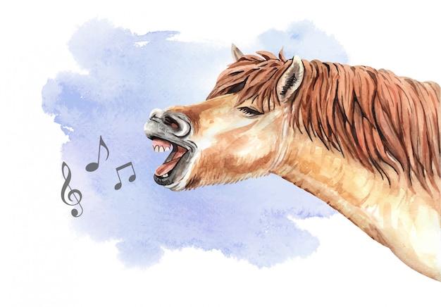 Акварельная поющая лошадь с музыкальной нотой