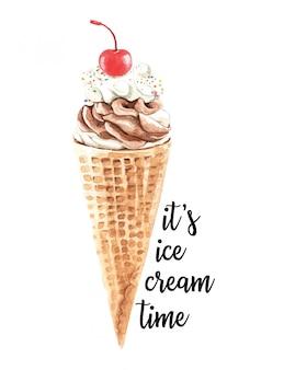 水彩のアイスクリーム、チェリーとワッフルコーン