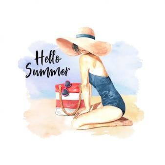 ビーチで水彩こんにちは夏の女性