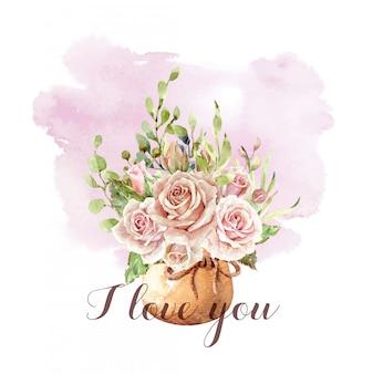Акварельный букет роз в горшке с лентой веревки.