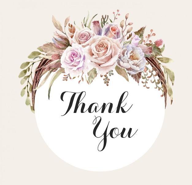 感謝のタグの水彩画のバラのブーケリース。
