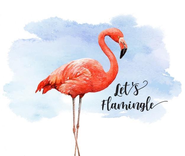 カラフルな背景を持つ水彩画の熱帯鳥フラミンゴ。