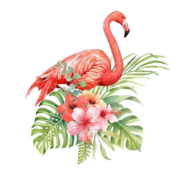 ハイビスカスの花束の水彩画のフラミンゴ