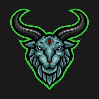 Логотип талисмана головы козы синего барана