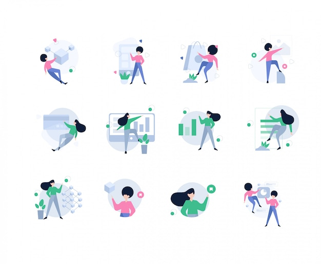 Начать коммуникации, статистика и данные, женщина в плоской концепции дизайна бизнеса.