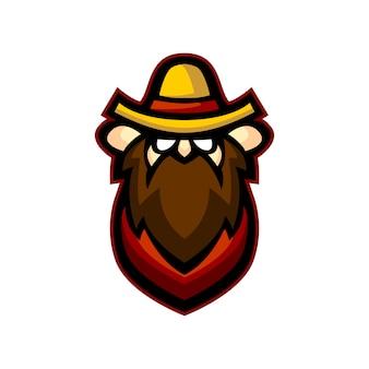Логотип талисмана фермера с милой концепцией