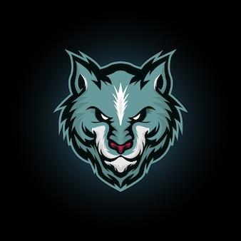 オオカミの頭、青いオオカミマスコットロゴデザインのベクトルイラスト
