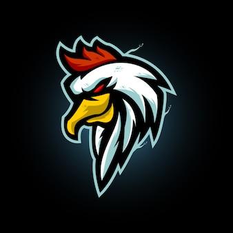 Храбрая голова петуха и спортивный логотип