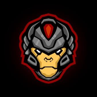 Обезьяна солдат голова и спортивный талисман логотип