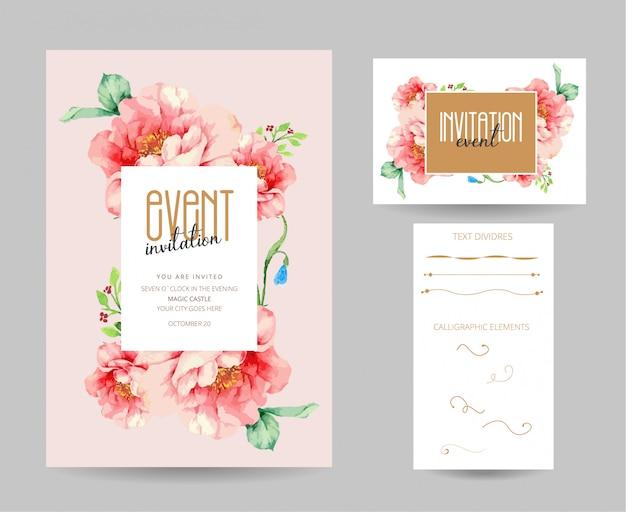 編集可能な招待状と名刺デザイン、手描きのテキストの仕切り