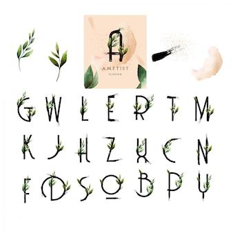 アルファベットの花のフォントはペンキの葉の水彩風