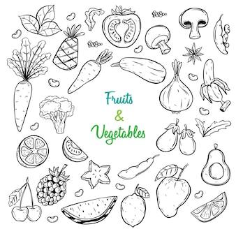 スケッチの果物と野菜のセット図