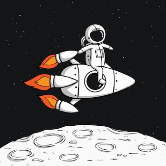 Астронавт с космической ракетой, плавающей на луне