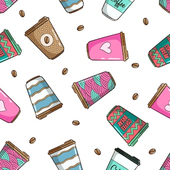 かわいい落書きスタイルとカラフルなコーヒーカップのシームレスパターン