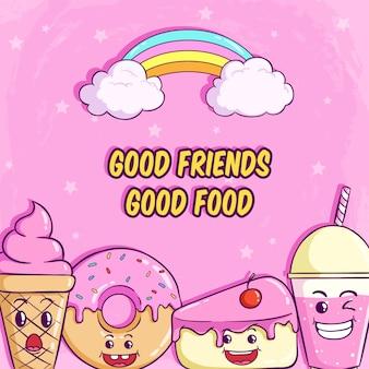 Милый пончик, кусочек торта и молочный коктейль с забавным выражением лица на розовом
