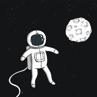 宇宙に月と浮かぶかわいい宇宙飛行士