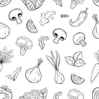 野菜と手描かれたシームレスパターン