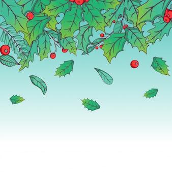カラフルな手描きスタイルで落ちる冬の葉