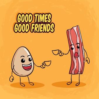 卵とベーコンのかわいいキャラクターと朝のコーヒータイム